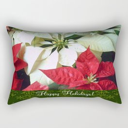 Mixed Color Poinsettias 2 Happy Holidays S6F1 Rectangular Pillow