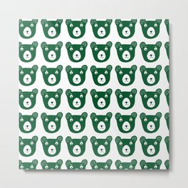 Dark green bear illustration Metal Print