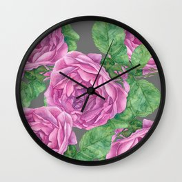 Rose Blooms Watercolor Wall Clock