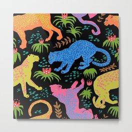 Jungle Cat Party in Black + Neon Metal Print
