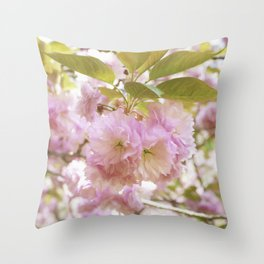 double cherry blossoms with soft hues of pink petals Throw Pillow