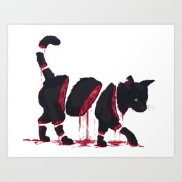 Bloody Black Cat Art Print