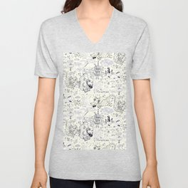 Chinoiserie pattern with dragons, bats, pagodas Unisex V-Neck