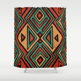 Red earth geometric pattern Shower Curtain
