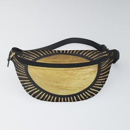Golden Sunburst Starburst Noir Fanny Pack