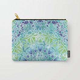 Blue Greenery Tie-Dye Mandala Carry-All Pouch
