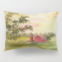 Red Barn, Farm Painting, by Faye Pillow Sham