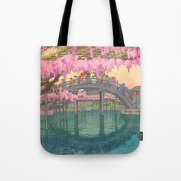 Yoshida Kameidô Japanese Woodblock Print Vintage Asian Art Wisteria Garden Bridge Tote Bag