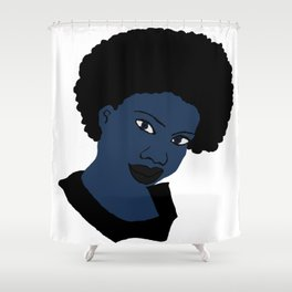 Love Your Beautiful Afro Blue Natural Hair Shower Curtain