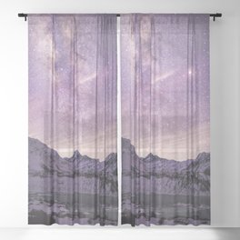 Galactic Center over Aoraki, New Zealand Sheer Curtain