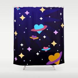 Heart Planet Shower Curtain