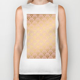 Gold and pink sparkling Mermaid pattern Biker Tank