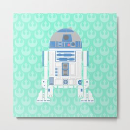 R2-D2 on Mint Rebellion Metal Print