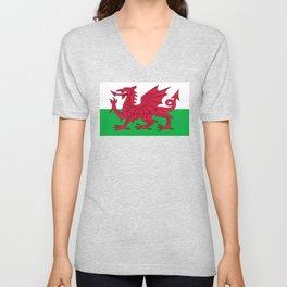 Flag of Wales - Hi Quality Authentic version Unisex V-Neck