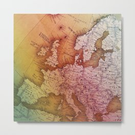 Antique Europe Map Metal Print