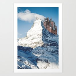 Castle on the Hill Matterhorn and Burg Eltz Castle in Germany Art Print