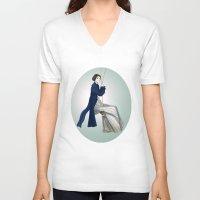 pride and prejudice V-neck T-shirts featuring Fashion Illustration - Pride & Prejudice by BeckiBoos
