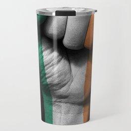 Irish Flag on a Raised Clenched Fist Travel Mug