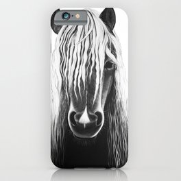 Horse Black and White Painting iPhone Case
