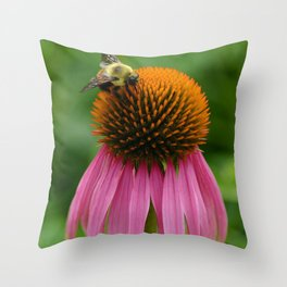 Coneflower with Bee Throw Pillow