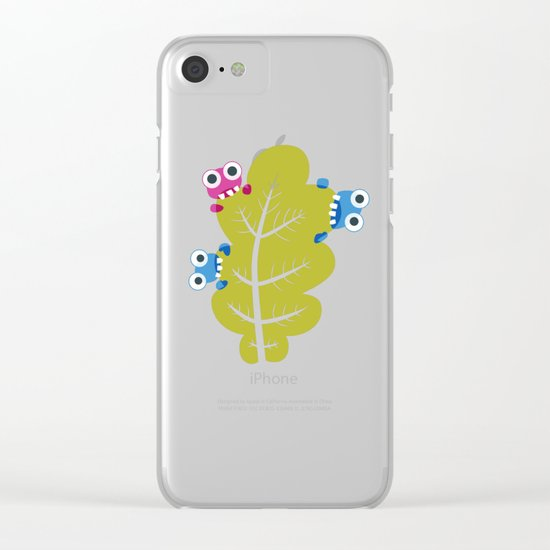 Bugs Eat Green Leaf Clear iPhone Case