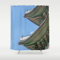 korea Shower Curtains featuring Gyeongbokgung Palace Lines_South Korea by Jennifer Stinson