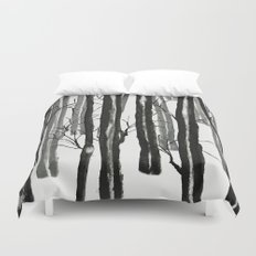 wood and snow Duvet Cover