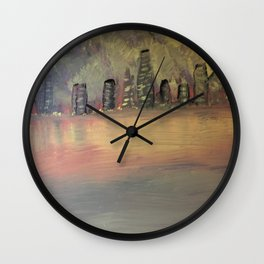 Sparkling City by the Sea Wall Clock