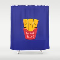 french fries Shower Curtains featuring Friend Fries by Wai Theng