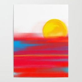 Sketchy Sun and Sea. Sunset and Sunrise Sketch Poster