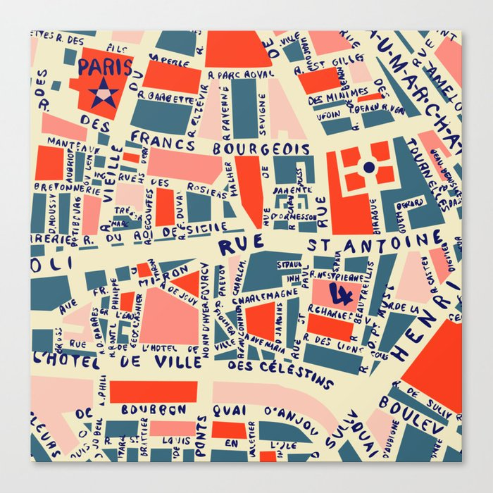 paris map blue Leinwanddruck