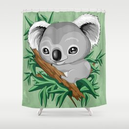 Koala Baby on the Eucalypt Branch Shower Curtain