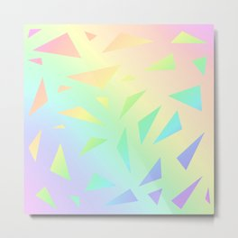 Pastel Gradient Design with Pastel Ombre Triangles! Metal Print