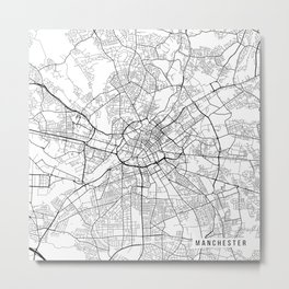 Manchester Map, England - Black and White Metal Print