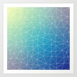 Abstract Blue Geometric Triangulated Design Art Print