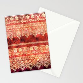 Retro . Vintage lace on a red background . Stationery Cards