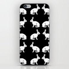 Black and white linocut rabbit drawing pattern inked minimal art animal spirit animals iPhone & iPod Skin