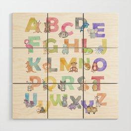 Watercolor Alphabet Animals Wood Wall Art