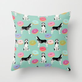 Husky donuts cute dog portrait pet friendly dog art husky puppies must have gifts for dog lover Throw Pillow