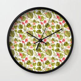 Tropical blush pink green modern vector floral pattern Wall Clock