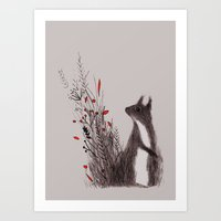 squirrel Art Prints featuring Squirrel by Linette No