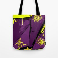 evil Tote Bags featuring EVIL by clogtwo