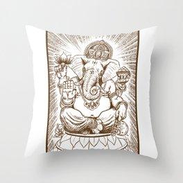 Ganesh: Brown Throw Pillow