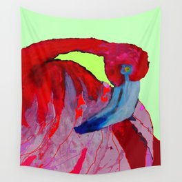 Tropical Flamingo Preening Abstract Wall Tapestry