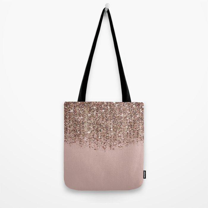 Blush Pink Rose Gold Bronze Cascading Glitter Umhängetasche