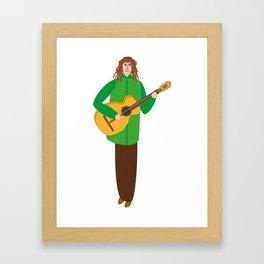 Guitarist in green Framed Art Print