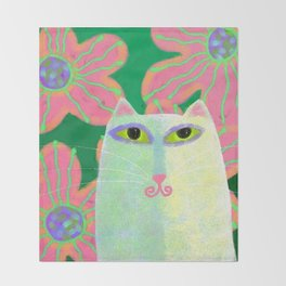 White Cat with Pink Flowers Abstract Digital Painting  Throw Blanket
