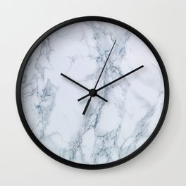 Elegant Creamy White Marble with Light Blue Veins Wall Clock