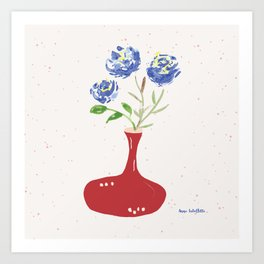 Blue roses in wine decanter Art Print