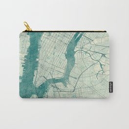 New York Map Blue Vintage Carry-All Pouch
